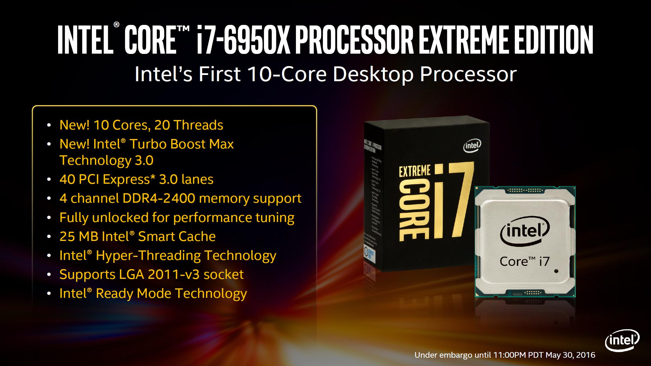 Risultati immagini per Intel Core i7-6950X