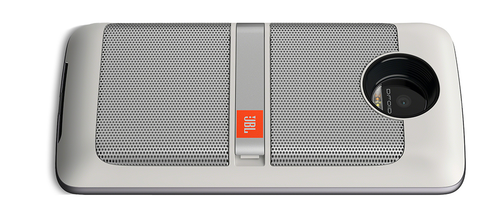 jbl moto mod. the jbl soundboost speaker has two 27mm diameter drivers powered by up to 3w each. there\u0027s a built-in aluminum kickstand on back with rubber foot that jbl moto mod o
