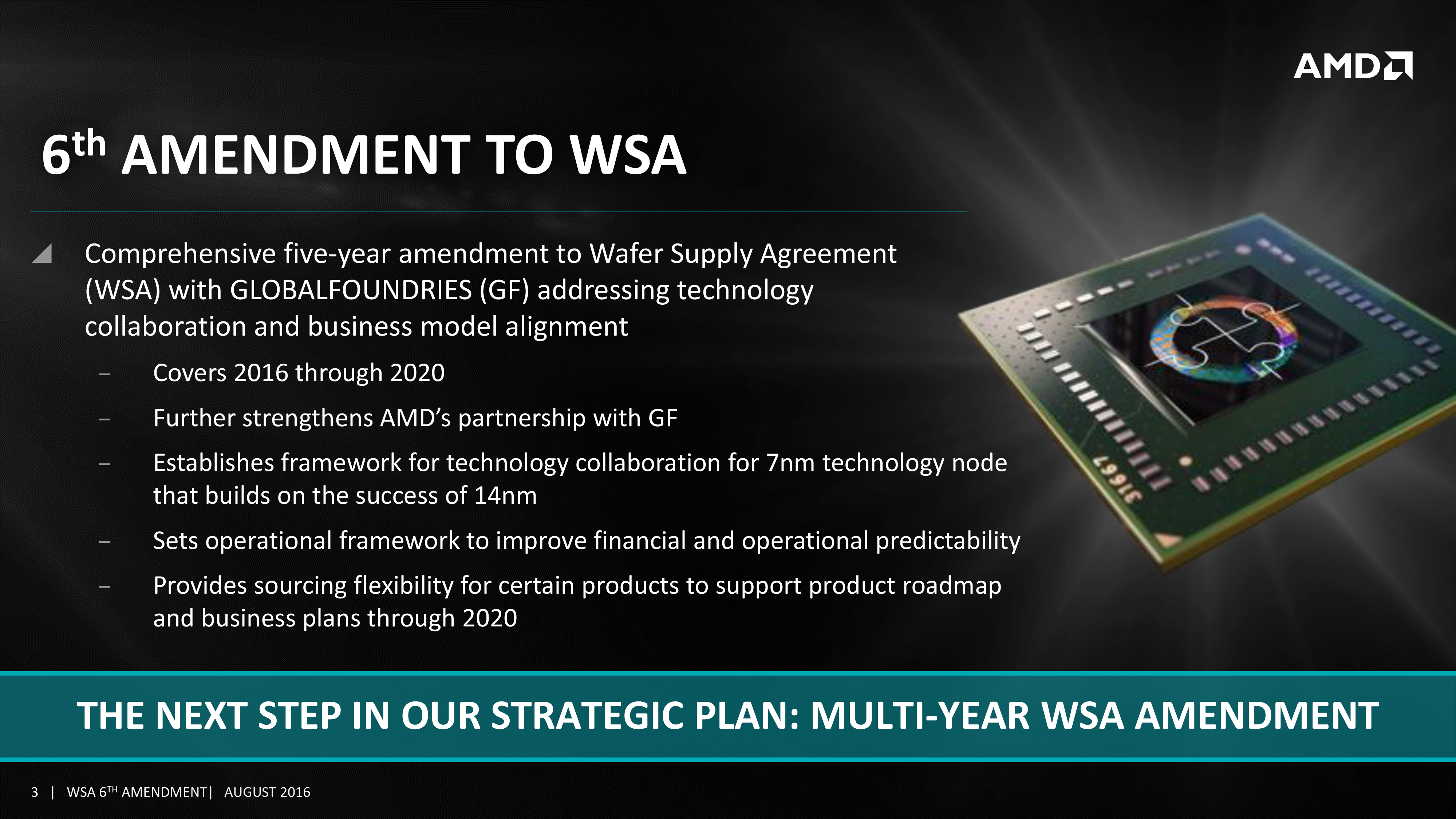 AMD Amends GlobalFoundries Wafer Supply Agreement Through