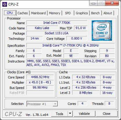 Intel Core i7-7700K Kaby Lake