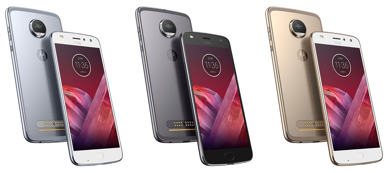moto play. moto z² play colors: nimbus blue (left), lunar gray (middle), fine gold (right)