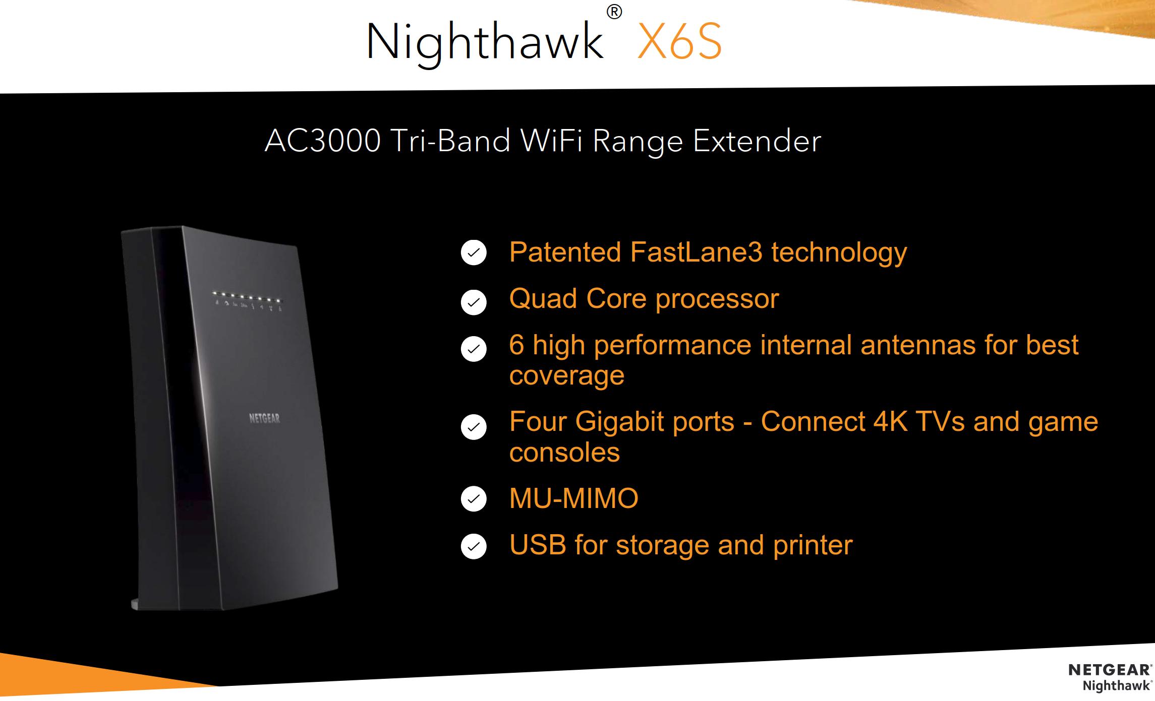 Netgear Nighthawk X6S EX8000 Brings Orbi Tri-band Wi-Fi to