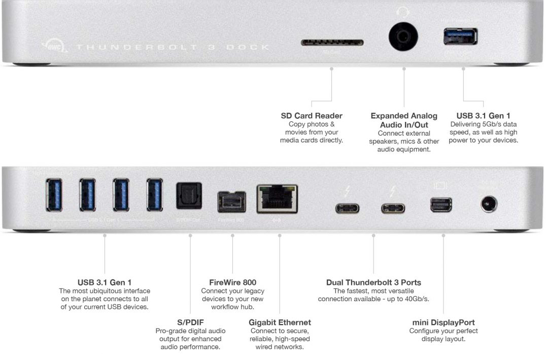 owc launches 13 port thunderbolt 3 dock gbe usb a sd card mdp firewire more. Black Bedroom Furniture Sets. Home Design Ideas