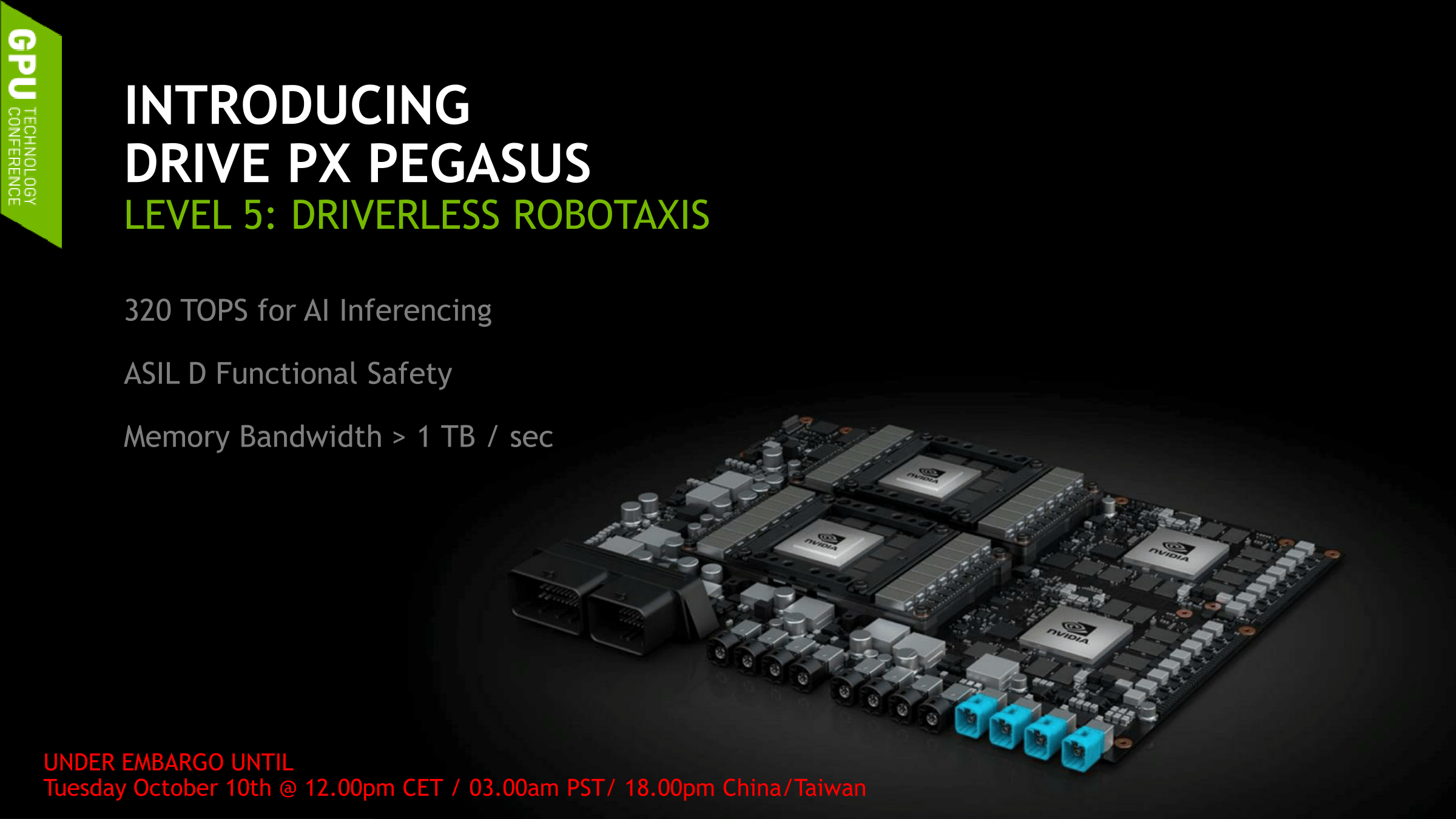 Nvidia's new Pegasus chip targets tomorrow's fully autonomous vehicles