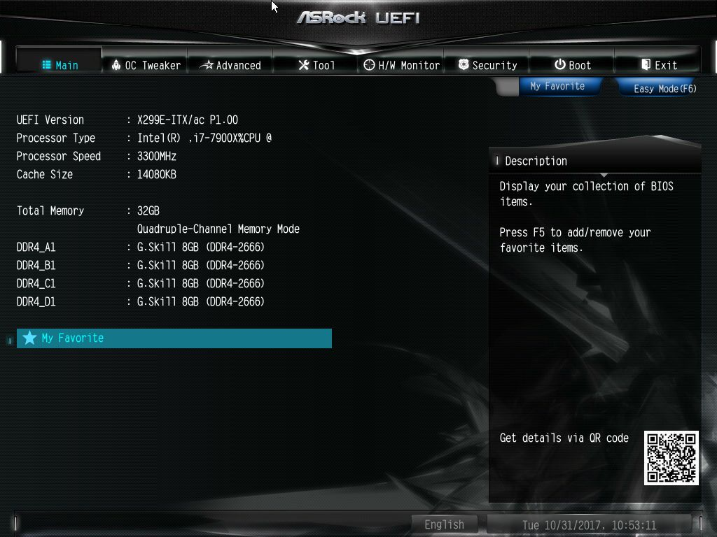 BIOS and Software - The ASRock X299E-ITX/ac Motherboard