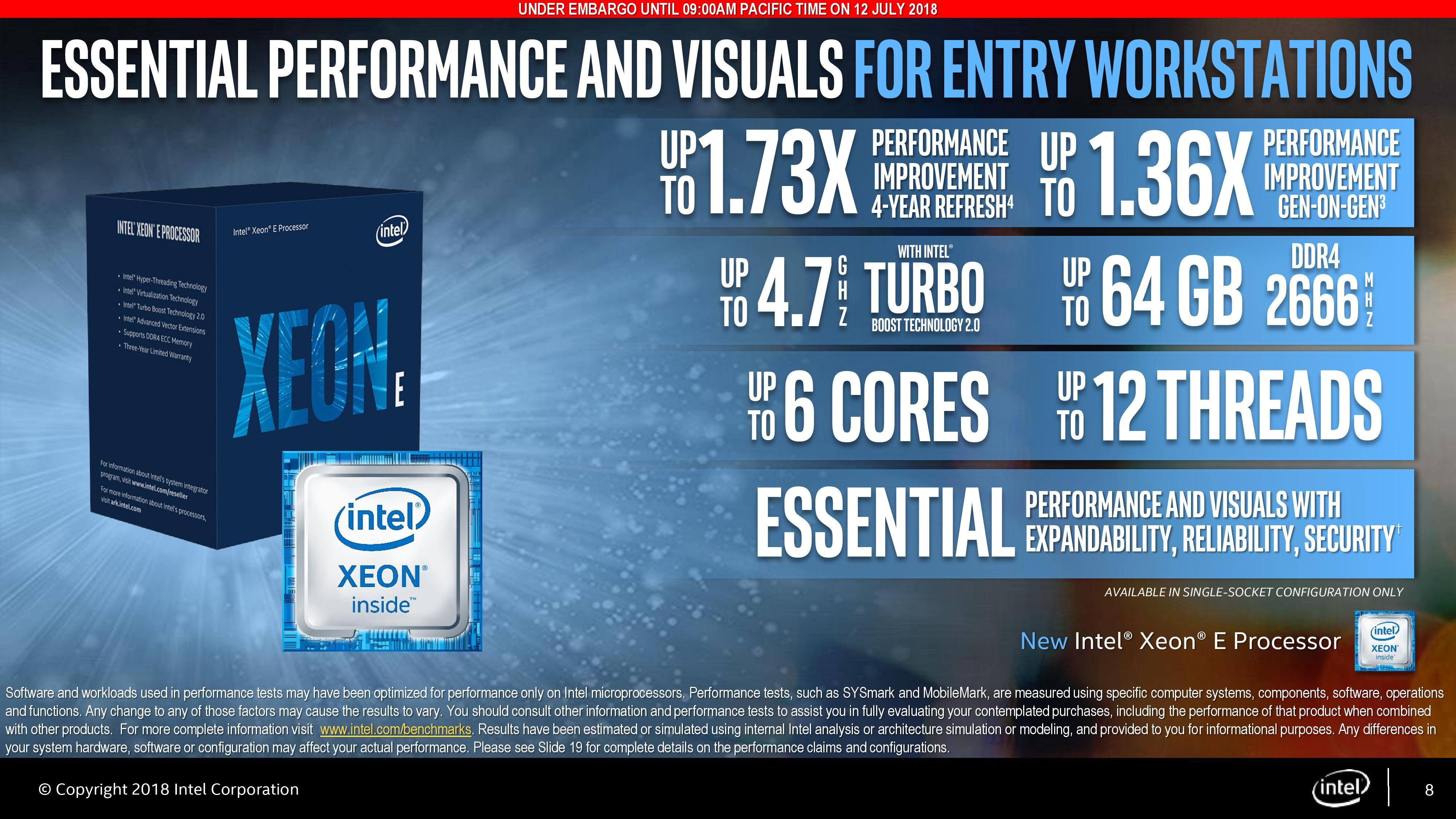 Intel Launches Coffee Lake Xeon E (Entry): The Next-Gen E3-1200