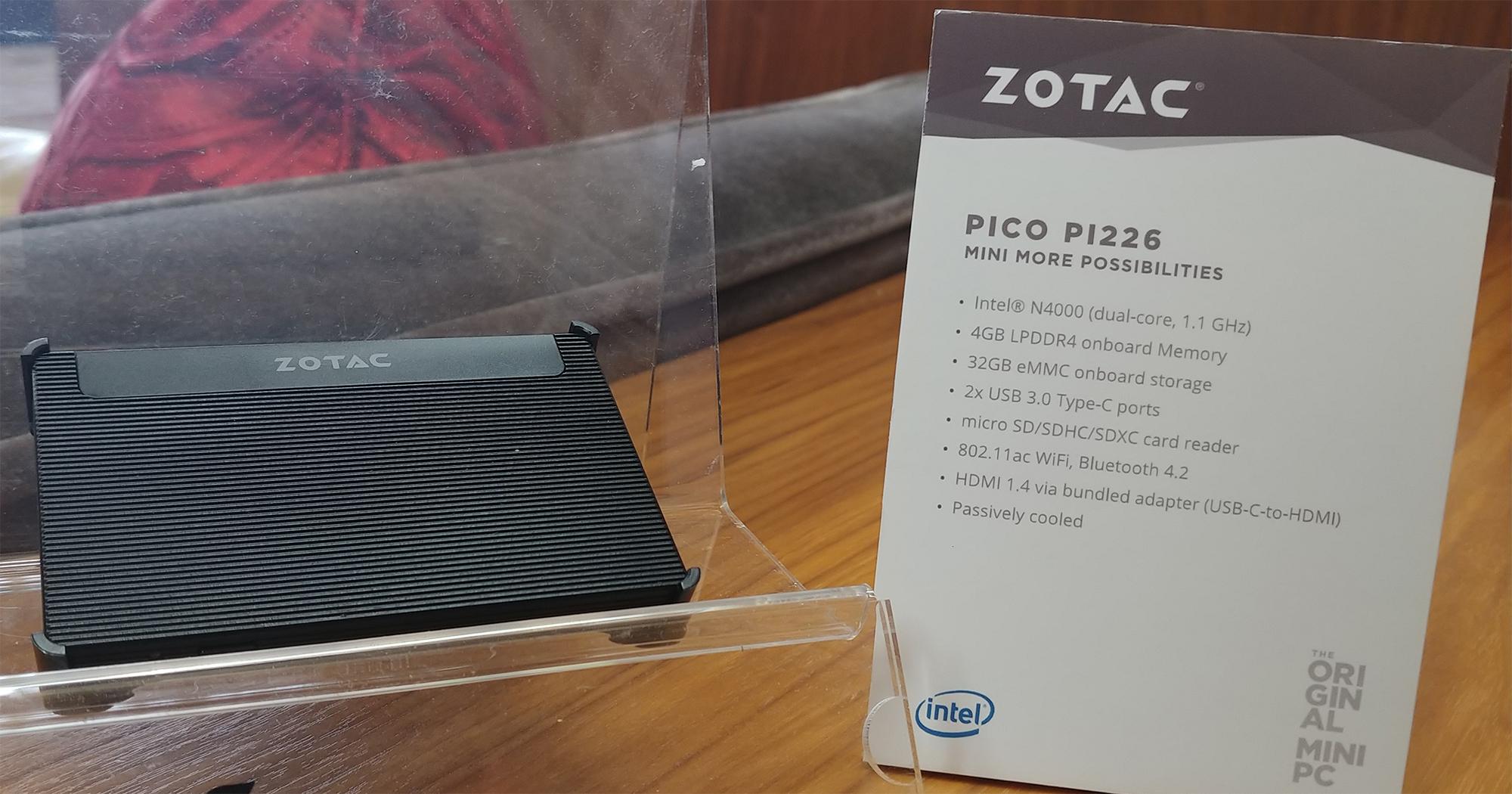 Zotac At Ces 2018 Gemini Lake Credit Card Pico Pcs V Gen Sdhc 4gb Zbox Pi226 A Sized Desktop