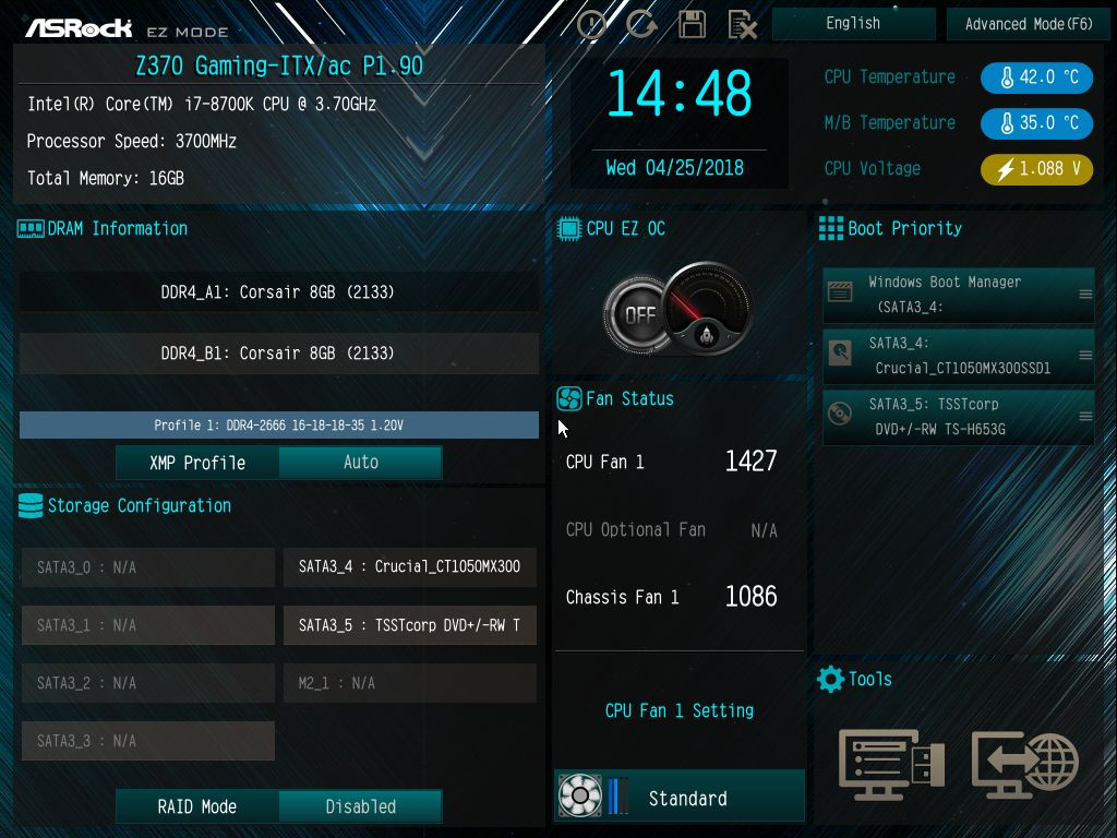 Bios And Software The Asrock Z370 Gaming Itx Ac Motherboard Review Three Channel Fan Speed Controller For Pc Ez Mode Screen Displays To Users An Informative Dashboard Relaying High Level System Information Such As Installed Cpu Its Speeds Temperatures