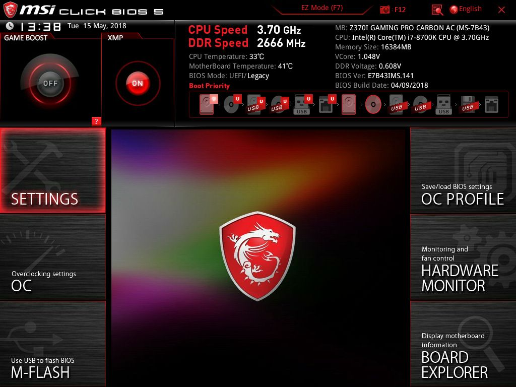 BIOS and Software - The MSI Z370I Gaming Pro Carbon AC (mITX