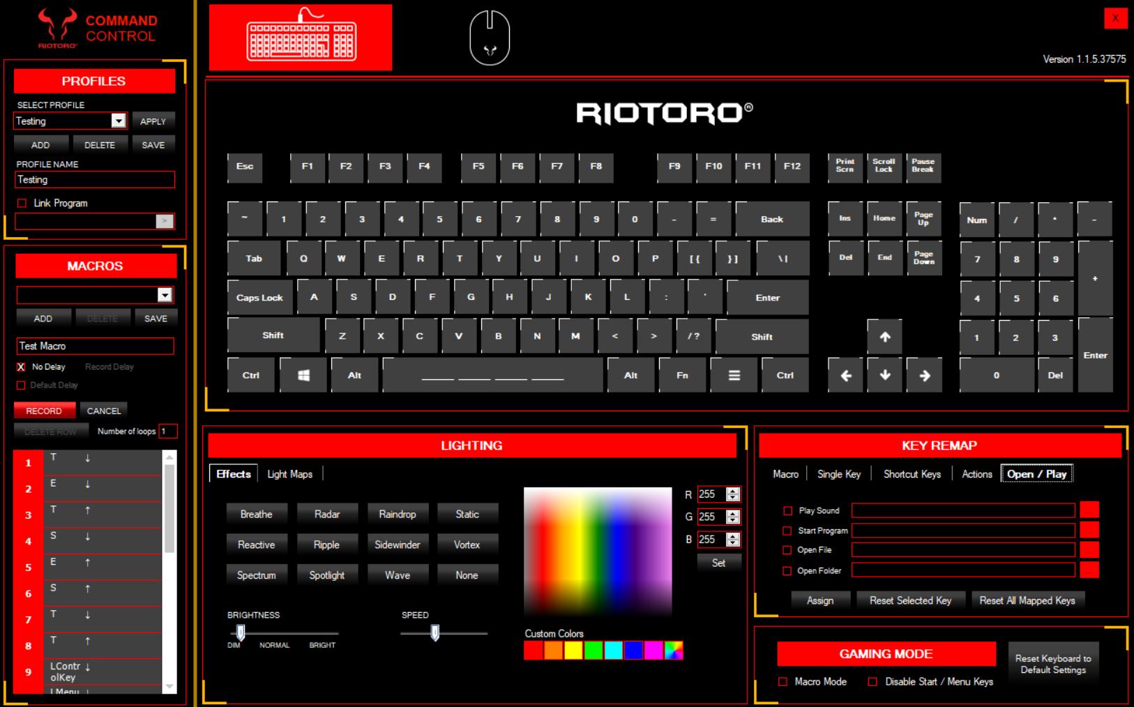 Software - The Riotoro Prism Gaming Mechanical Keyboard