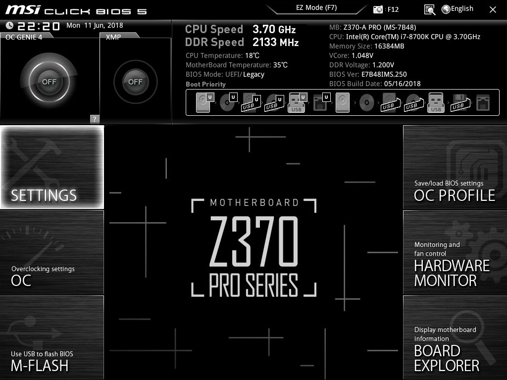 BIOS and Software - The MSI Z370-A Pro Motherboard Review: Entry