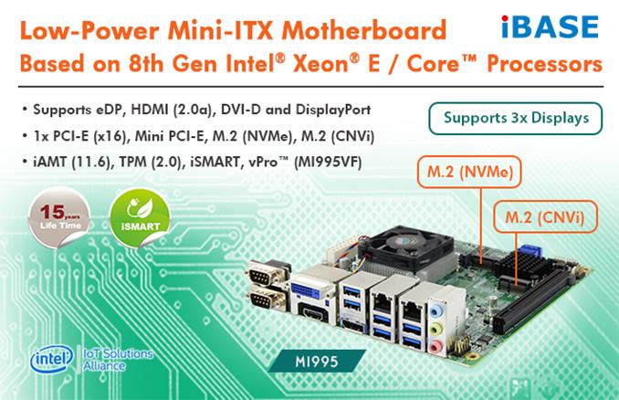iBASE Launches MI995 Mini-ITX Intel CM246-Based Board for Xeon E
