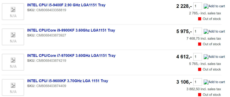 Unannounced Intel Core i9-9900KF, i7-9700KF, i5-9600KF and i5-9400F