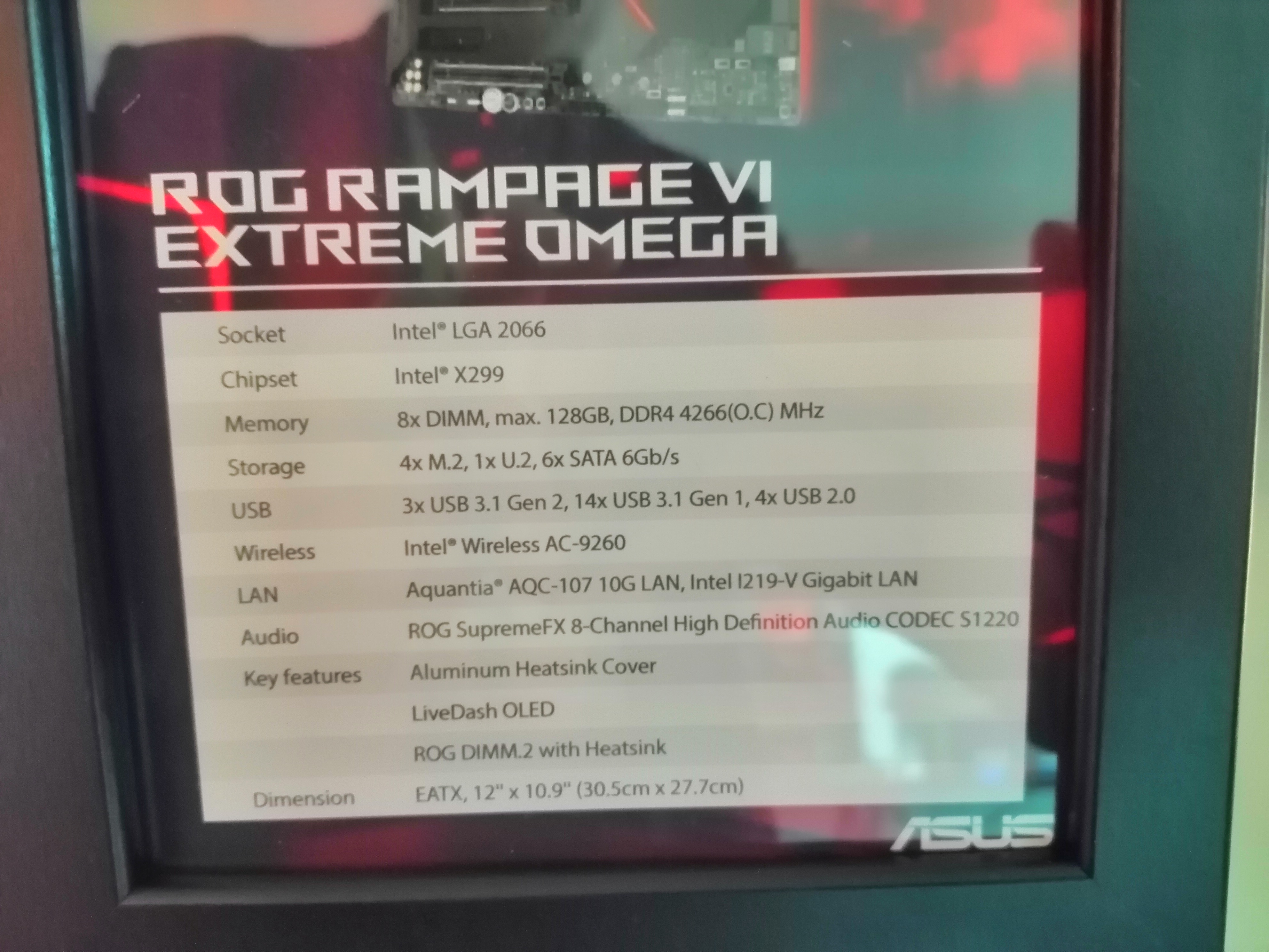 CES 2019: ASUS ROG Rampage VI Extreme Omega X299 Motherboard