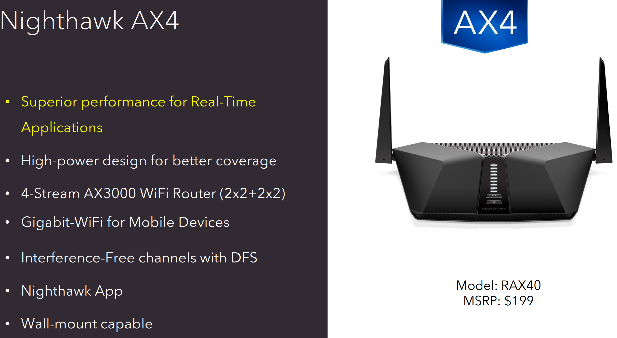 Netgear Launches the Nighthawk RAX40 - An Affordable Intel