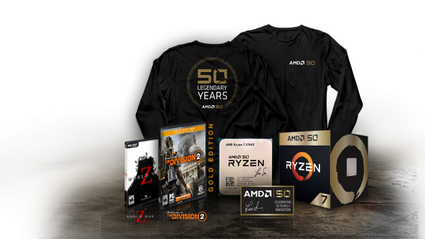 AMD 50th Anniversary: Ryzen 7 2700X and Radeon VII Gold Edition Products
