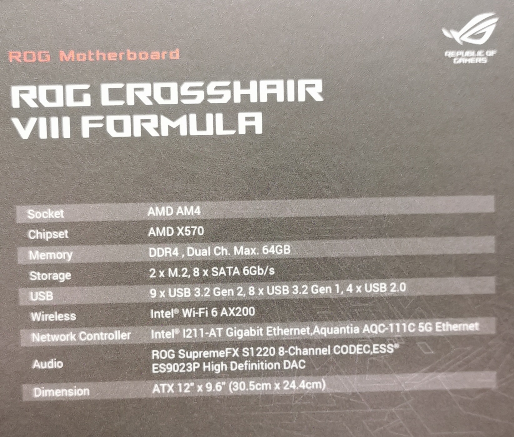 ASUS Announces its X570 Flagship Motherboard, the Crosshair VIII Formula
