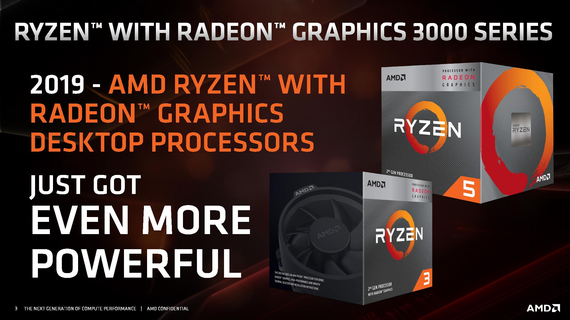 AMD Ryzen 3000 APUs: Up to Vega 11, More MHz, Under $150