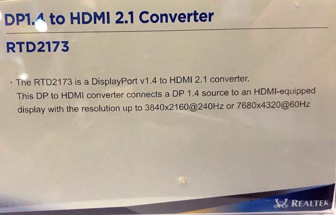 Realtek Demonstrates RTD2173 DisplayPort 1 4 to HDMI 2 1