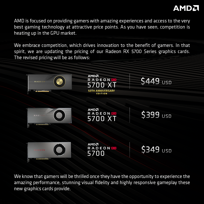 Amd Adjusts Launch Price Of Radeon Rx 5700 Series Xt Down To 399 Standard Down To 349