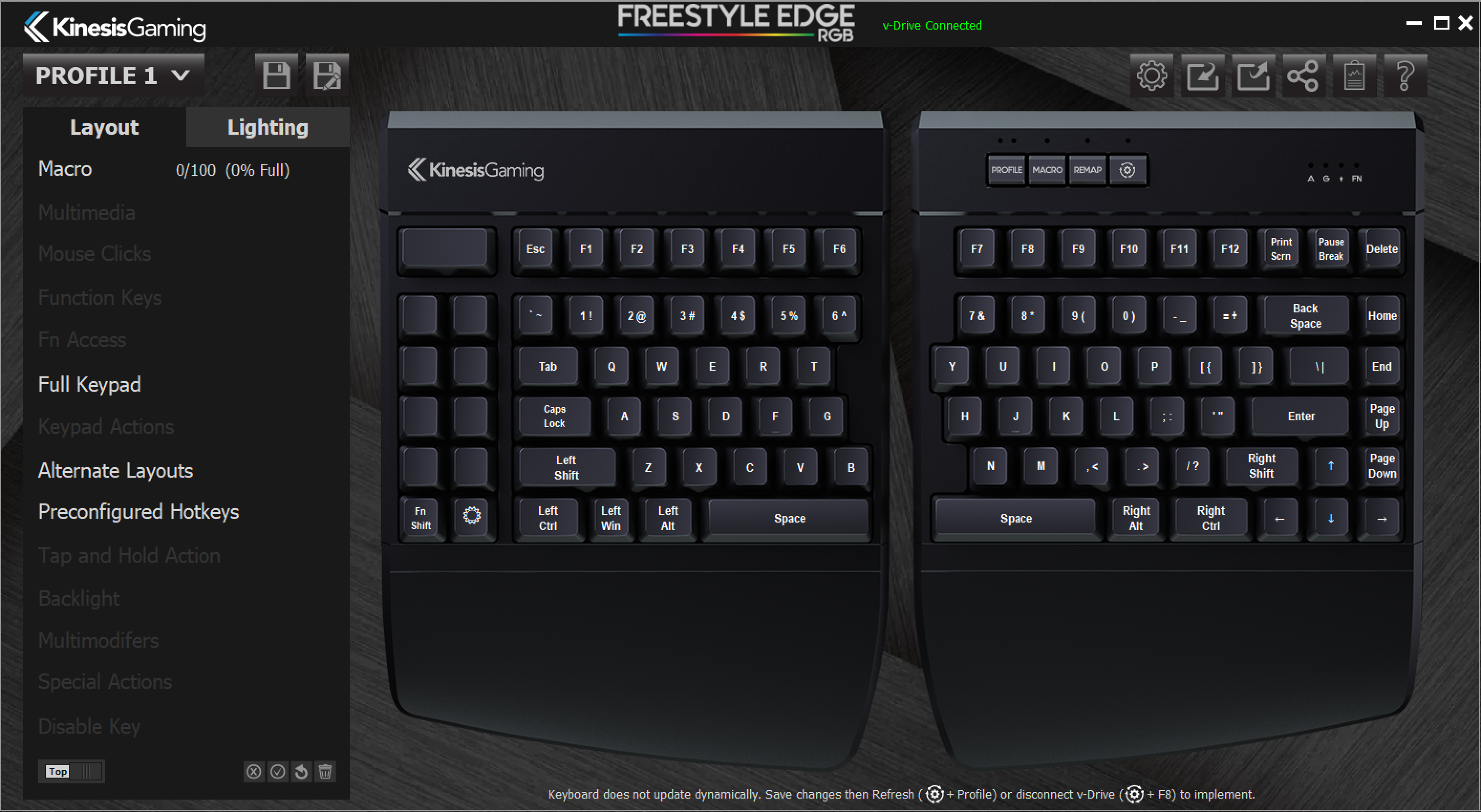 Software - The Kinesis Freestyle Edge RGB Gaming Mechanical