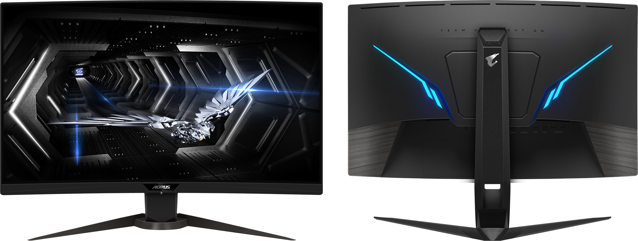 Black 165 Hz FreeSync//G-Sync Compatible Gaming Monitor 2560 x 1440 Gigabyte AORUS CV27Q 27 Inch Curved VA QHD