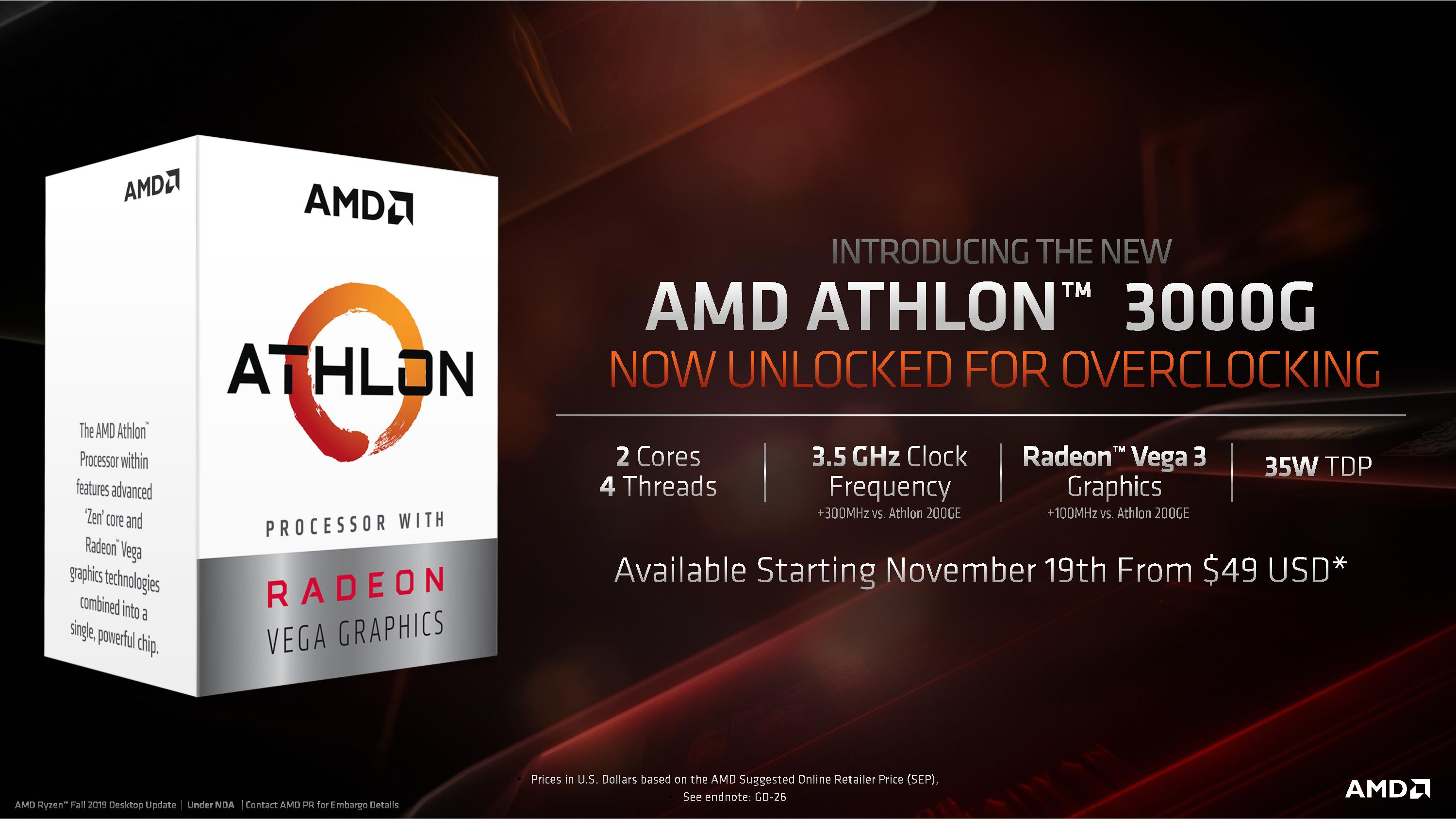 Amd Athlon 3000g Aligning Names And Numbers At 49 Amd Q4 16 Core Ryzen 9 3950x Threadripper Up To 32 Core 3970x Coming November 25th