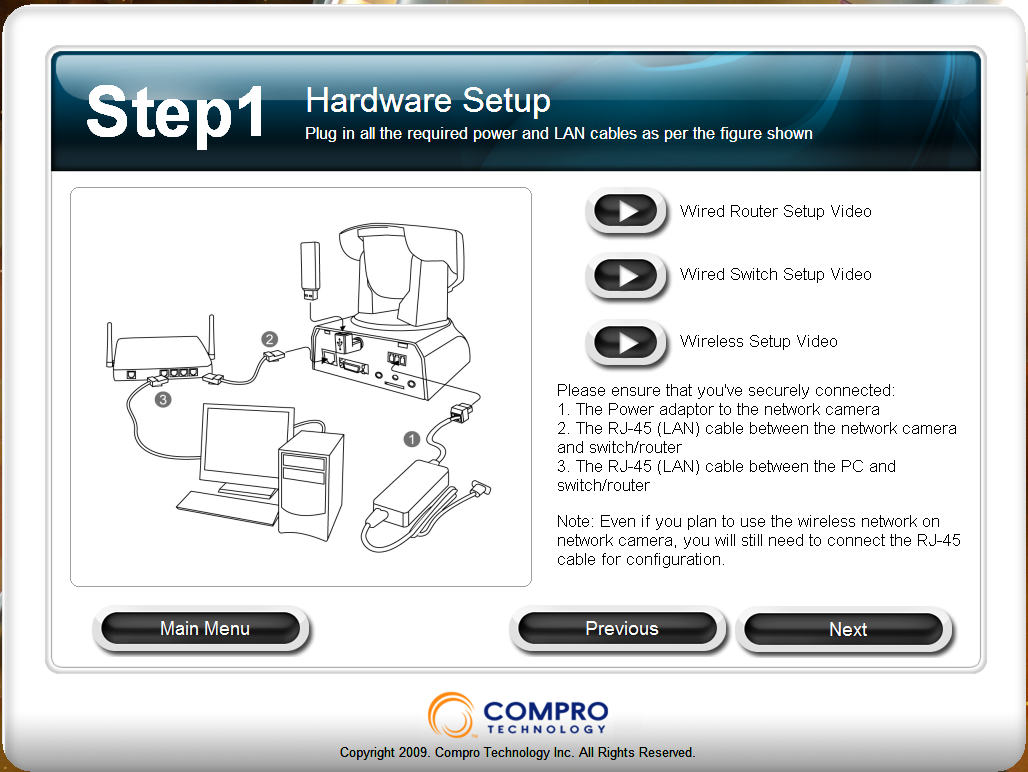 Software Setup - Compro Technologies IP540 PTZ Camera