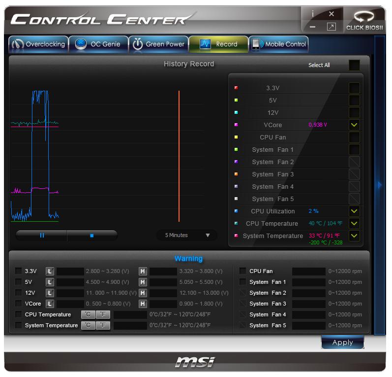 MSI Z77IA-E53 Control Center Windows