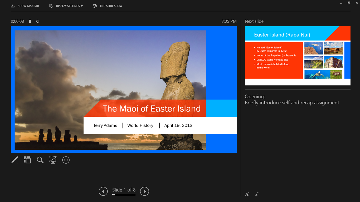 how to use powerpoint 2013 presenter view