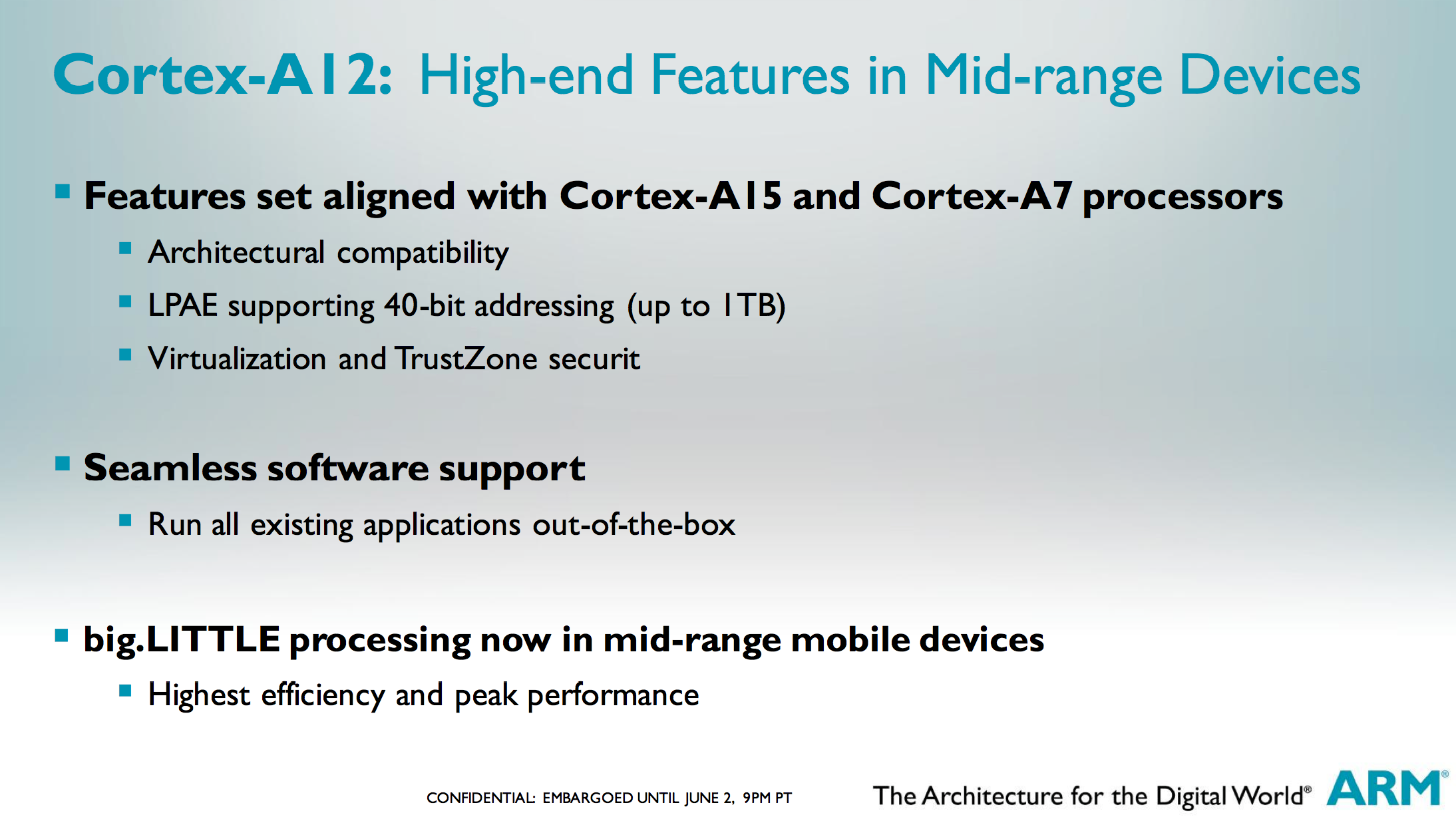 ARM Cortex A12: Between Cortex A9 and A15 in Power & Perf