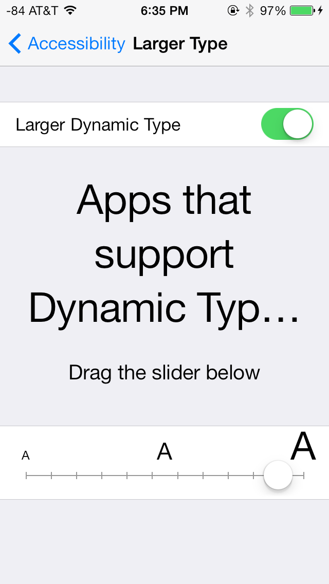 iOS Accessibility Larger Dynamic Type Settings screenshot