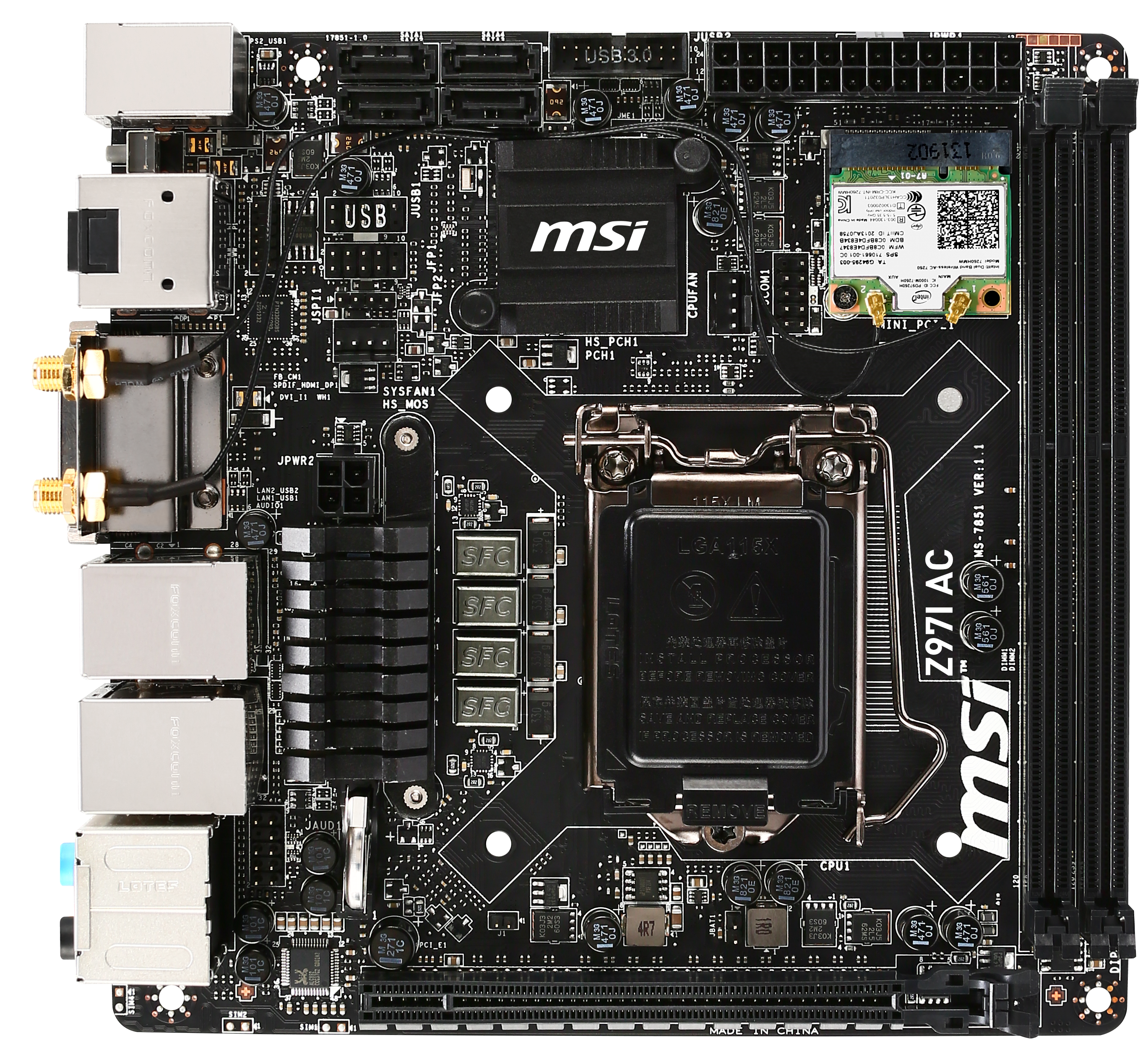 Motherboard Diagram In Detail Z97 Mini Itx Review At 140 Asrock Msi And Gigabyte Z97i Ac Visual Inspection