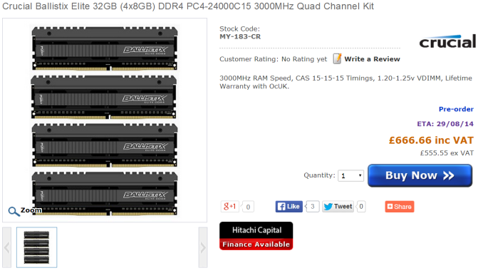 Kit 575px Crucial DDR4 Available for Pre Order at OverclockersUK