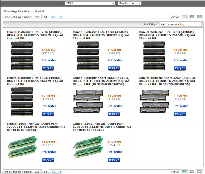OCUK 575px Crucial DDR4 Available for Pre Order at OverclockersUK
