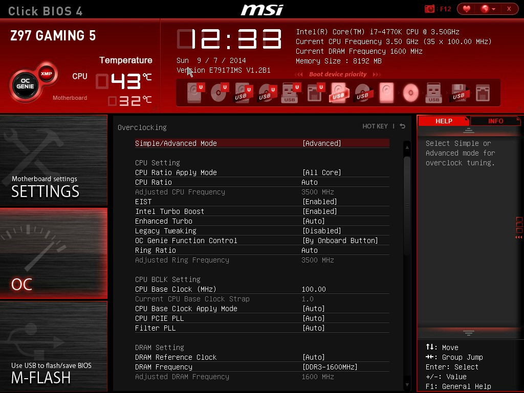 BIOS - MSI Z97 Gaming 5 Motherboard Review: Five is Alive