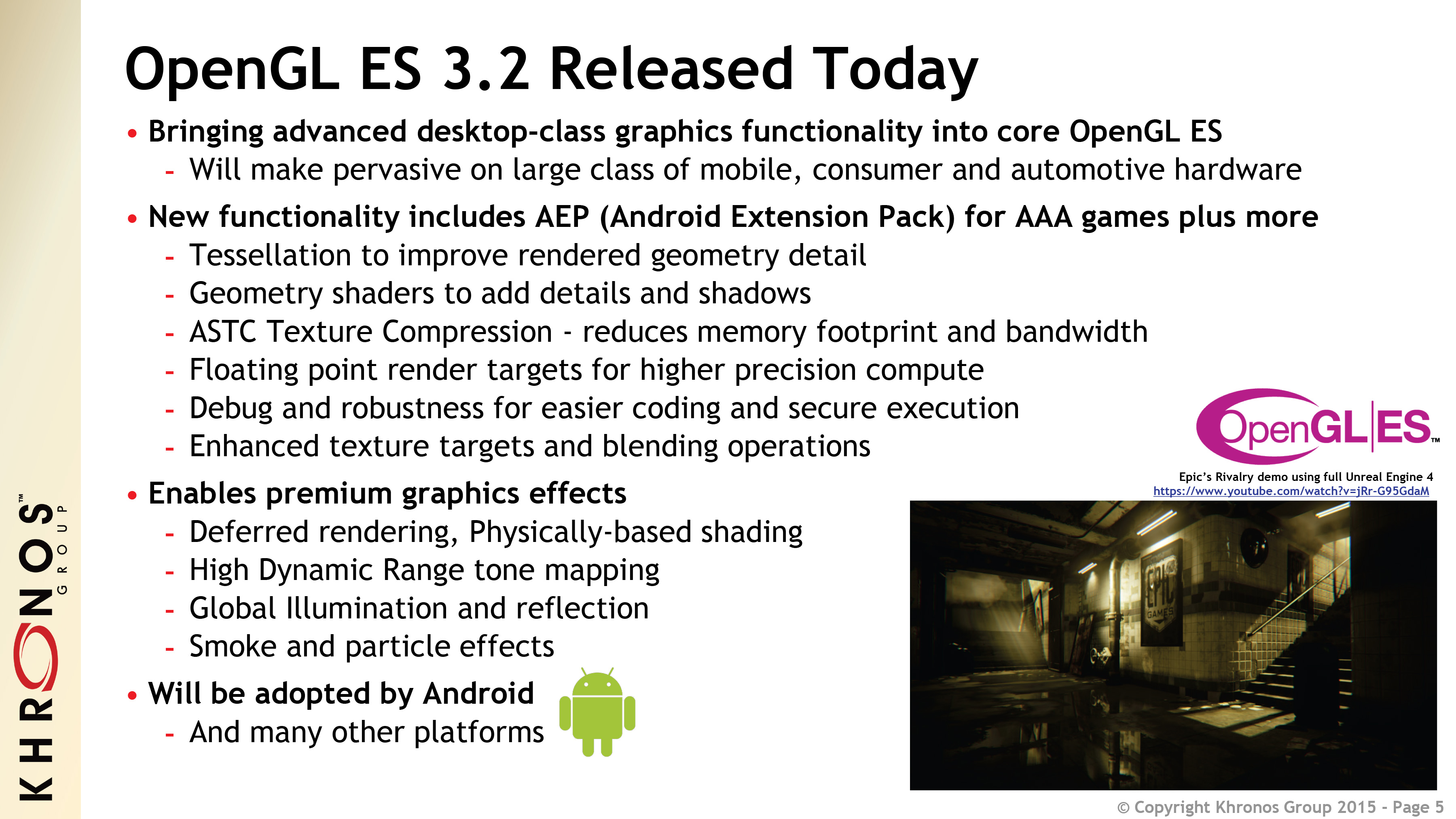 OpenGL @ SIGGRAPH 2015: OpenGL ES 3 2 & OpenGL Extensions Announced