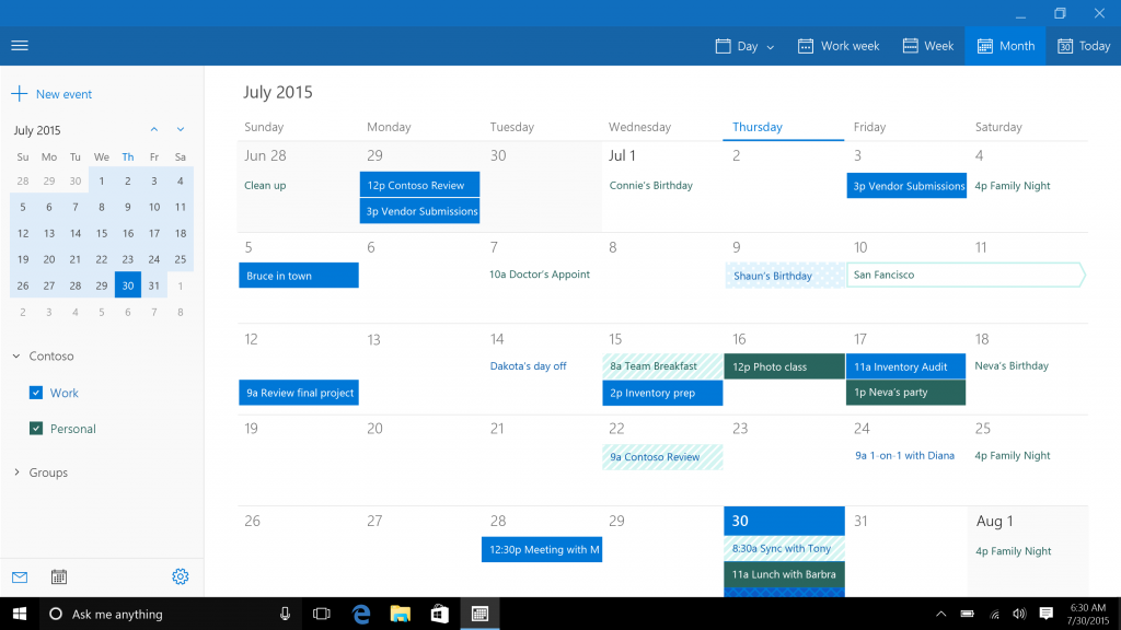 Mail, Calendar, and People - The Windows 10 Review: The Old & New Face ...