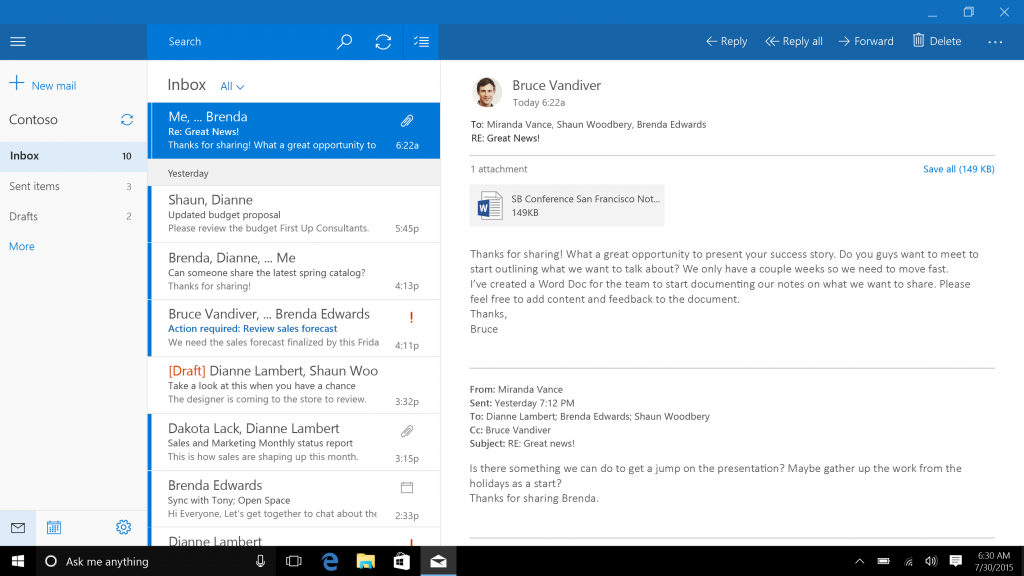 Mail, Calendar, and People - The Windows 10 Review: The Old & New
