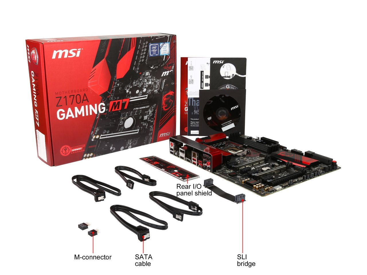 MSI Z170A Gaming M7 InTheBox board features, in the box, visual inspection, test setup the  at mifinder.co