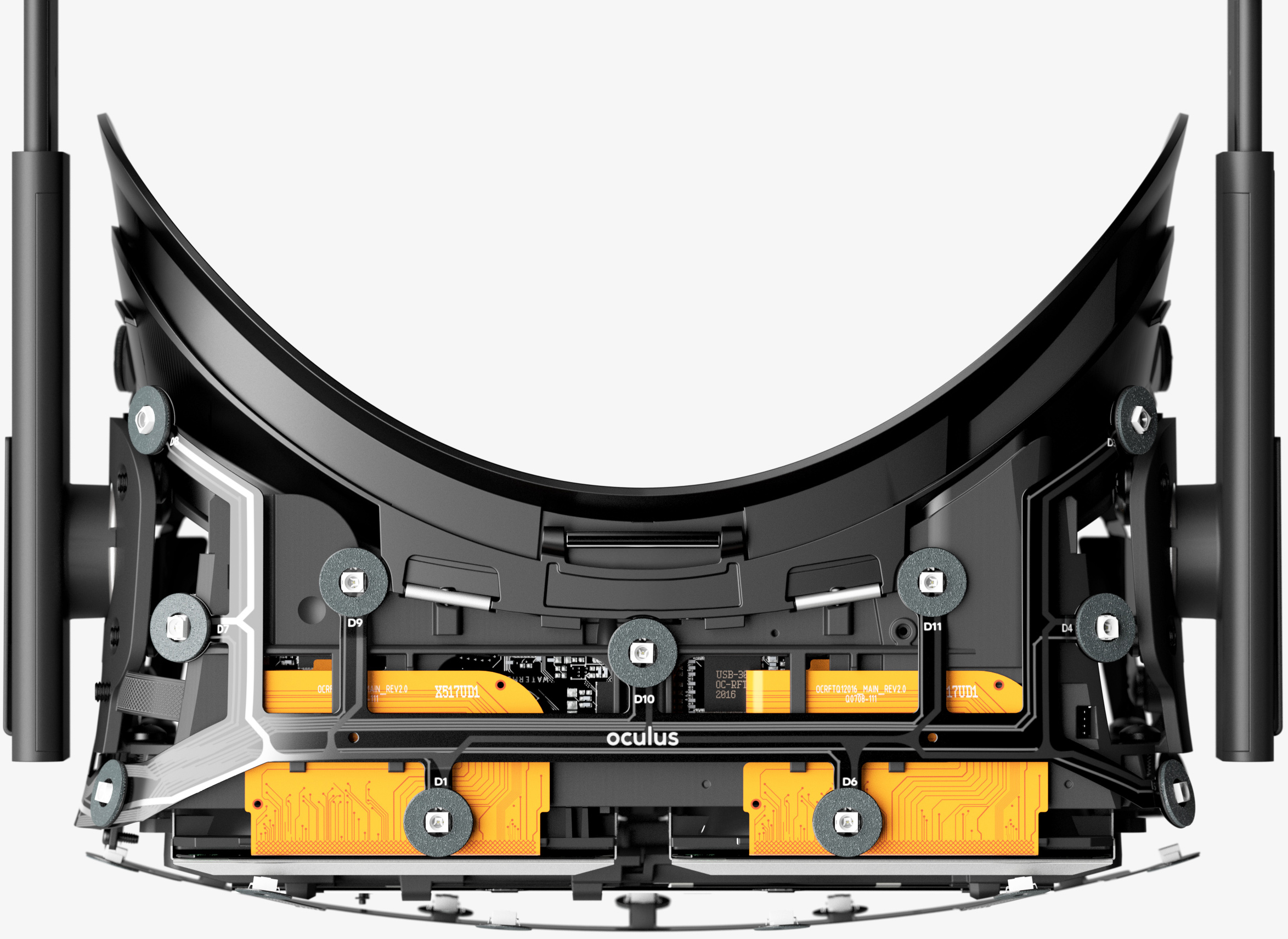 c87f318a1f91 The Oculus Rift virtual reality headset uses a lot of custom components  that were designed specifically for this device. For example