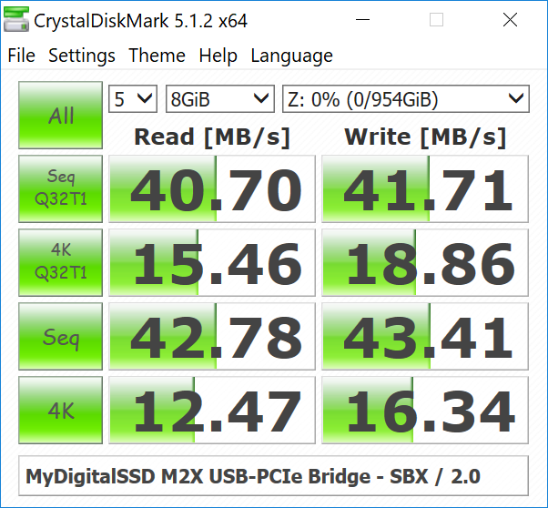 Performance Benchmarks - MyDigitalSSD M2X M 2 NVMe SSD Enclosure