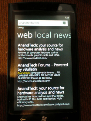 No Maps, Just Search - Windows Phone 7: The AnandTech Guide