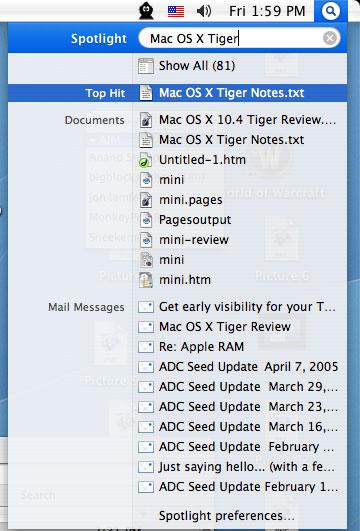 Spotlight - Mac OS X 10 4 Tiger Review