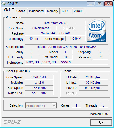 INTEL ATOM CPU Z530 DRIVERS FOR WINDOWS