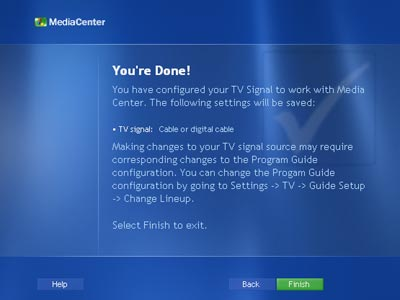 Setting up the TV - Windows XP Media Center Edition: Exposed