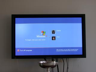 Windows XP running on the plasma display