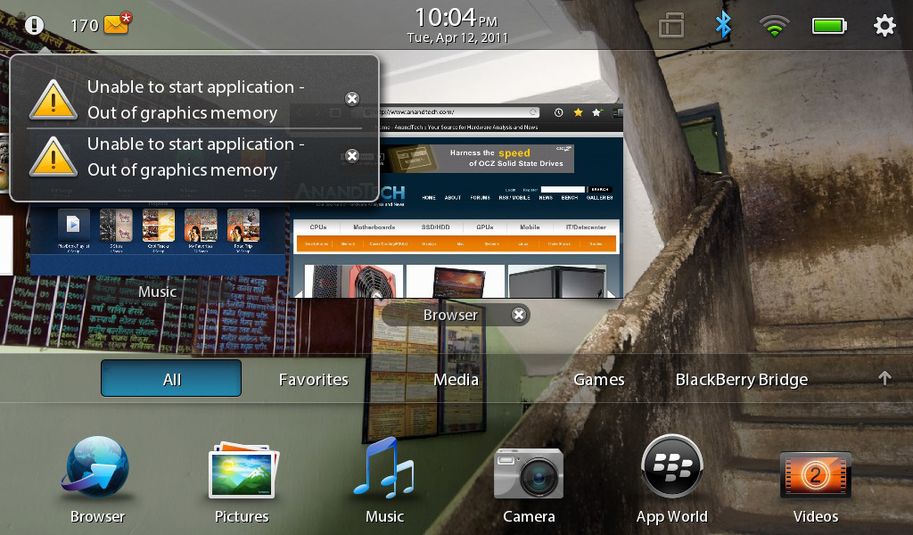 Memory Limits & WiFi Sharing - The BlackBerry PlayBook Review